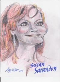 Susan Sarandon, colored pencils