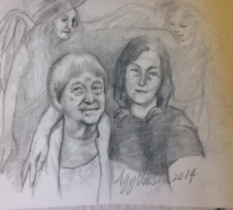 Pegs mum and sister, graphite on Bristol, Agy Wilson