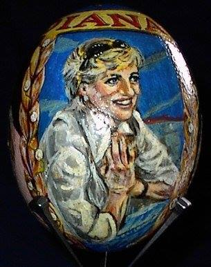 Princess Diana (triptych), acrylic on ostrich egg, Agy Wilson