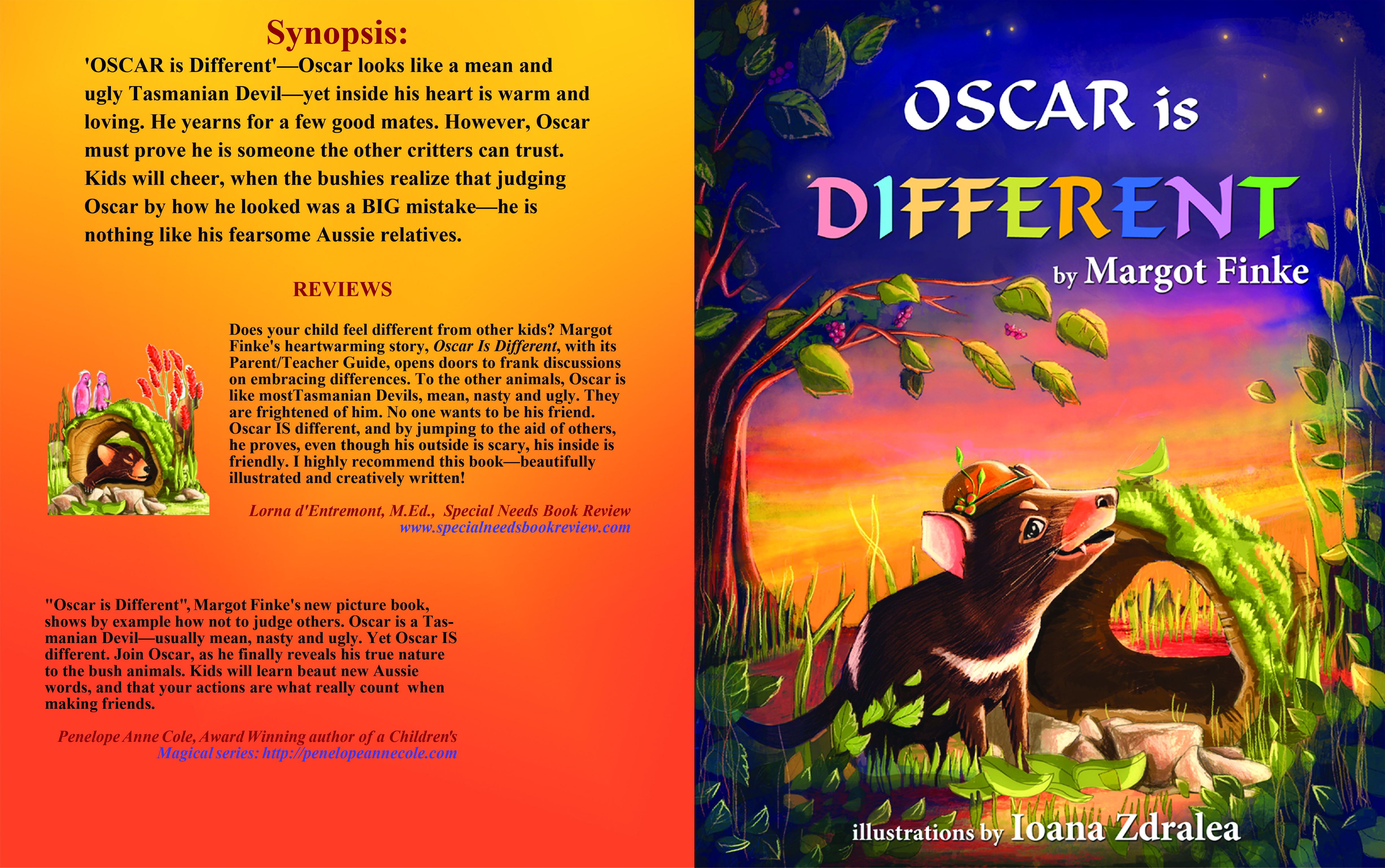 Oscar is Different, Margot Finke, illustrated by Ioana Zdraela (formatted by yours truly),