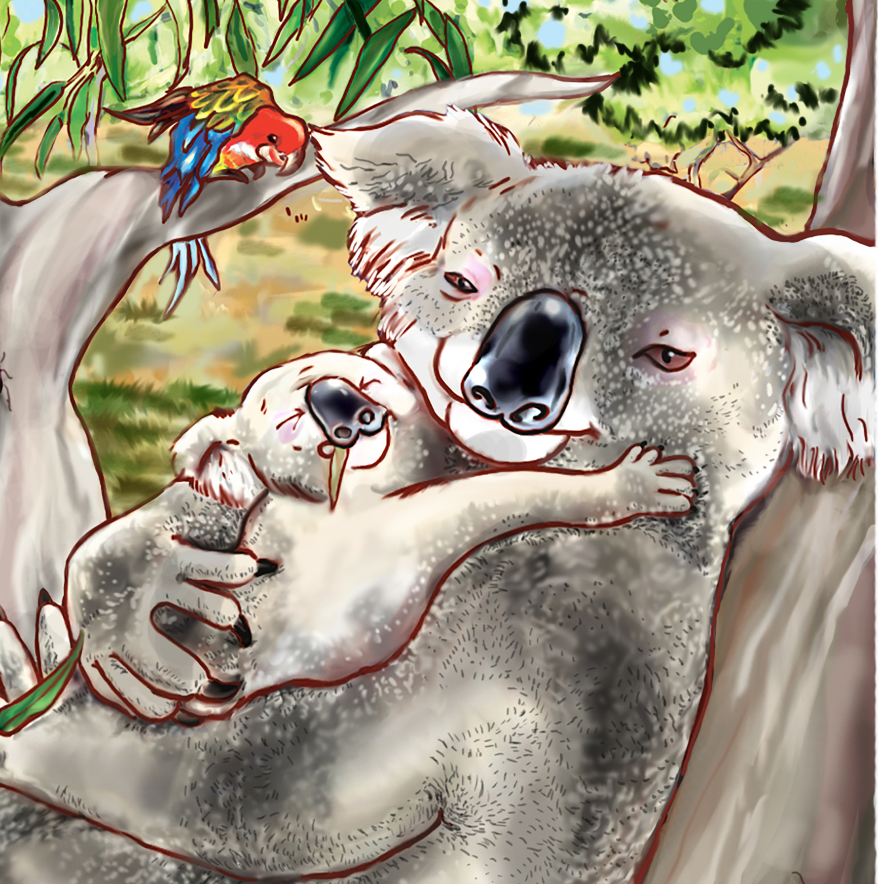 detail, Kobi Borrows a Pouch, ©Margot Finke illustrated by Agy Wilson learn about the process
