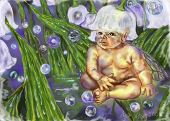 Baby faery Lily, Photoshop, I learned to use Photoshop by painting things I love, flowers, babies, bubbles, fae. I can be tricked.... so can you!